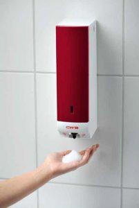 Schaumseifenspender Paradise Foam Slim NT Non-Touch berührungslos mit Sensor rot mit Hand Spenderbenutzung