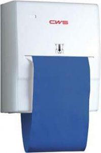 Stoffhandtuchspender weiß mit blauer Handtuchrolle (Industriespender)