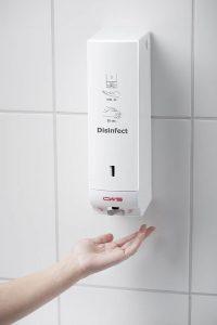 Handhabung des Desinfektionsmittelspenders Paradise Disinfect NT Non-Touch berührungslos sensorgesteuert weiss für eine effektive Händehygiene