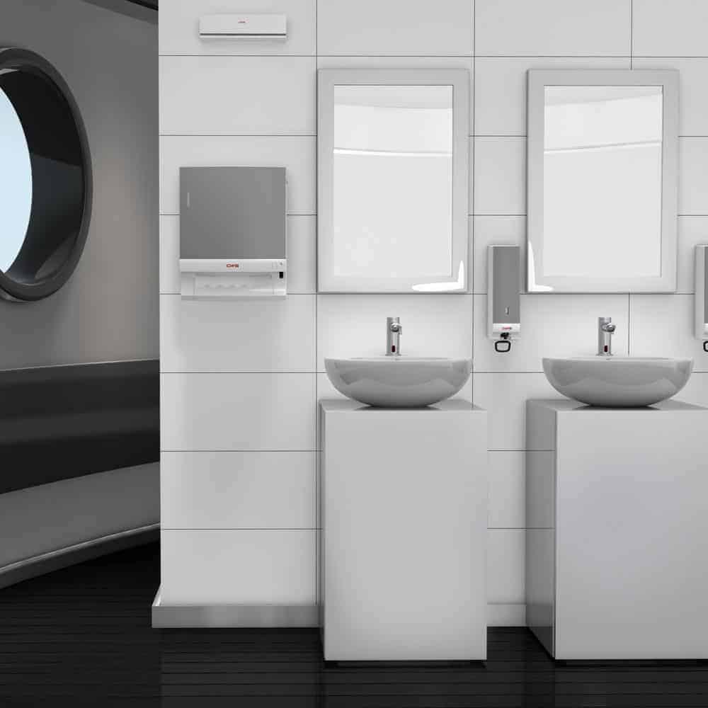 Trendfarben schwarz weiß grau - hier moderner Waschraum mit silberfarbenen Spenderelementen