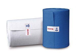 Stoffhandtuchrollen weiss und blau für komfortable Händetrocknung