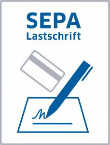 Logo SEPA-Lastschrift in blau auf weißem Hintergrund