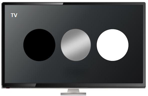 Trendfarben schwarz weiß grau bei Fernsehern - hier CleanUp-Grafik TV-Bildschirm mit Farbpunkten Schwarz Silber und Weiß entsprechend der Beliebtheitsskala