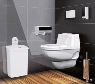 Trendfarben schwarz weiß grau - hier modernes WC mit vorschriftsmäßiger Spenderausstattung in schwarz und weiß