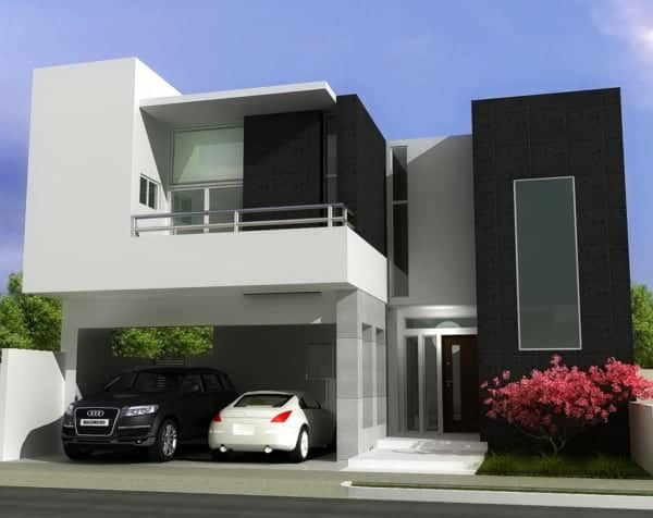 Trendfarben in der Architektur: Modernes Wohnhaus mit schwarz, weißer und grauer Fassade