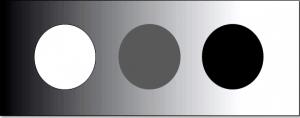 CleanUp-Grafik - Farbpunkte weiß, schwarz und grau auf silbernem Edelstahlhintergrund - Trendfarben
