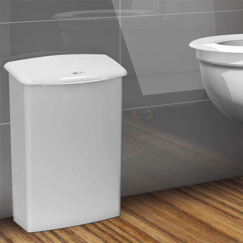 bodenstehende weiße Hygienebox im Toilettenbereich - Entsorgung von Hygieneabfällen im Mietservice