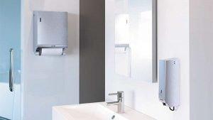 Waschraum mit Edelstahl-Spendersystemen Stoffhandtuchspender und Seifenspender Paradise Stainless Steel Cream Slim , Spender zur Wandmontage
