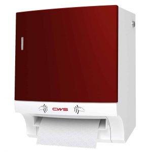 Rollenpapierspender berührungslos mit Frontpanel rot Ansicht rechts für komfortable Händetrocknung