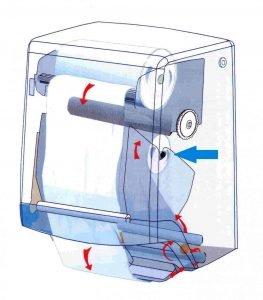 Skizze Handtuchspender mit Zweikammernsystem - Garantie für hygienisches Händetrocknen - Weg der Stoffhandtuchrolle