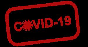 roter Schriftzug Covid 19 in weißem Feld mit roter Umrandung