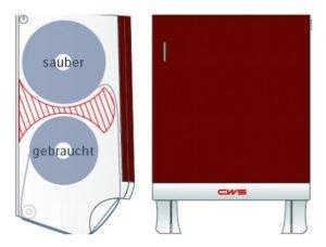 Frontansicht Stoffhandtuchsender und Seitenansicht Funktion 2-Kammersystem