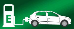 Symbolik Elektroauto an Ladesäule - weiß auf grünem Hintergrund