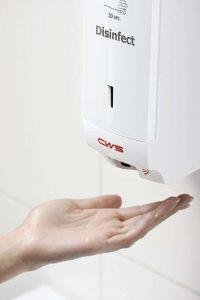 Hand unter weißem Desinfektionspender NT berührungslos - bieten Infektionsschutz - Waschraumhygiene